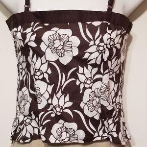 H&M brown & white floral print linen crop top sz 4